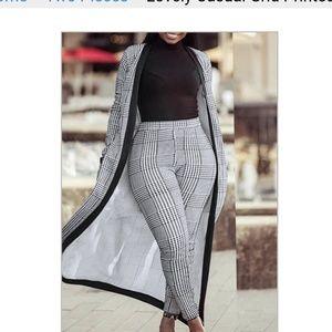 Pants - Houndstooth printed pantsuit